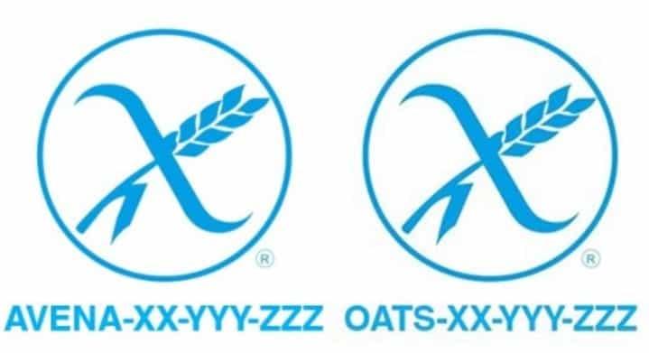 Logotipo espiga barrada, de un producto sin gluten y con Avena