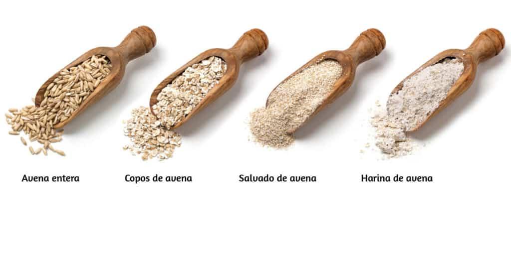 Tipos de avena: granos enteros, copos de avena, salvado y harina de avena